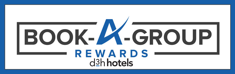 A rectangular logo advertising d3h hotel's group bookings rewards program.  Book a Group Rewards is presented in black and green lettering contrasted against a white background.