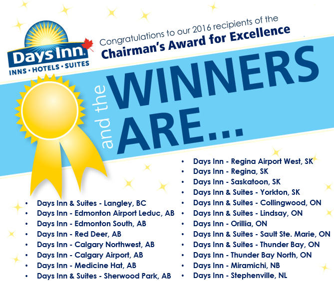 A listing of the 2016 recipients of the Chairman's Award for Excellence to the worthy Canadian Days Inn hotels with a yellow winner's ribbon icon and the Days Inn corporate logo and red maple leaf added to the info graphic.