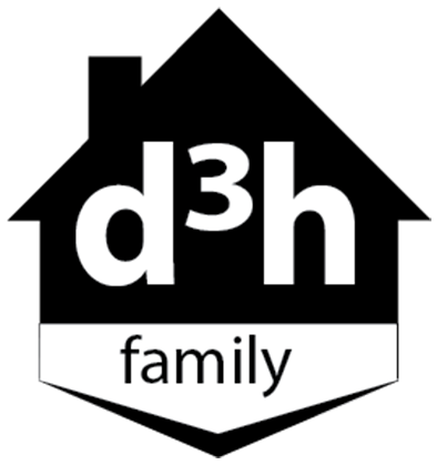 A black and white logo of the d3h family of employees, represented by a black silhouette of a house with a triangular roof and protruding chimney.