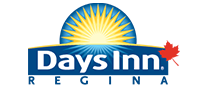 A small corporate logo representing d3h Days Inn Regina with typeset in blue and white lettering.  Also included in the logo design is a bright yellow sunrise icon contrasted against a blue background with a single red maple leaf.