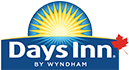 A small sized logo of Days Inn.  A bright yellow sunrise icon and the corporate name in bold white lettering  is contrasted against a blue background.