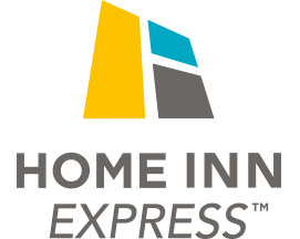 The Home Inn Express logo presents the brand name HOME INN in heavy bold black lettering, with express in thin lime green typeset. The logo also includes a black outline of a house icon, filled in with green coloring.