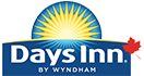 The Days Inn brand is represented with a yellow radiating sunrise icon contrasted against a dark blue background.  Days Inn is presented in thick white typset.