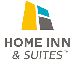 The Home Inn & Suites logo features the corporate name in black bold lettering contrasted against a white background and a house shaped chartreuse green icon, outlined in brown.