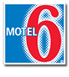 The blue background of the Motel 6 logo provides a strong contrast to the number 6 in bold red lettering with white outline, while Motel is presented in white typeset.