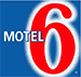 A small square shaped logo of the d3h Motel 6 in Red Deer, Alberta. Motel is presented in white type, with a large