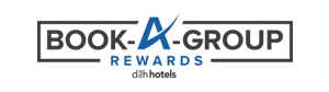 The d3h hotels Rewards Program logo presents a black rectangular border drawn around the slogan Book - A - Group Rewards (in black and green letter typeset), while the corporate identity, by d3h hotels in black typeset is placed beneath.