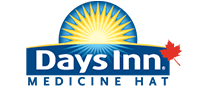 The d3h Days Inn Medicine Hat corporate logo is presented with blue and white letter typeset.  A bright yellow sunrise icon and a Canadian red maple leaf are additional elements contrasted against a blue background.