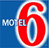 Small square logo of d3h Motel 6 against a blue background, with Motel presented in white lettering and